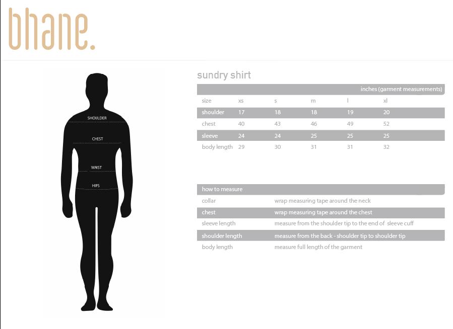 sundry shirt's Size Chart