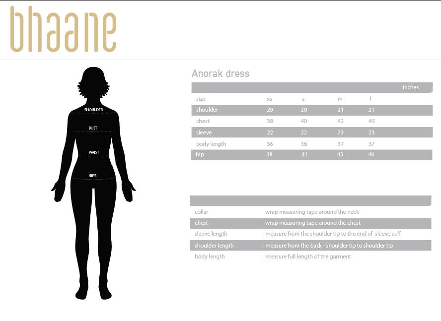 anorak dress's Size Chart
