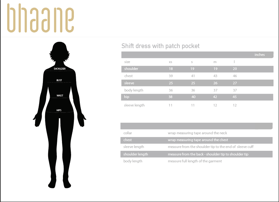 shift dress with patch pocket's Size Chart
