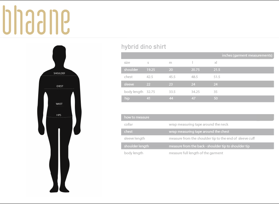 hybrid dino shirt's Size Chart