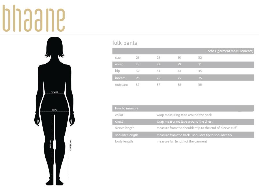 folk pants's Size Chart