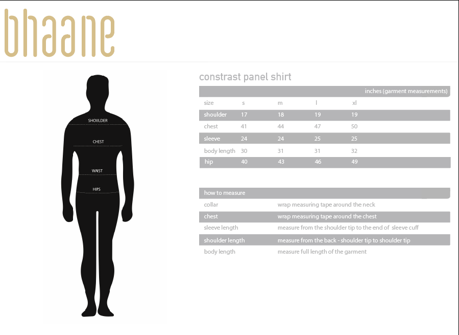 contrast panel shirt's Size Chart
