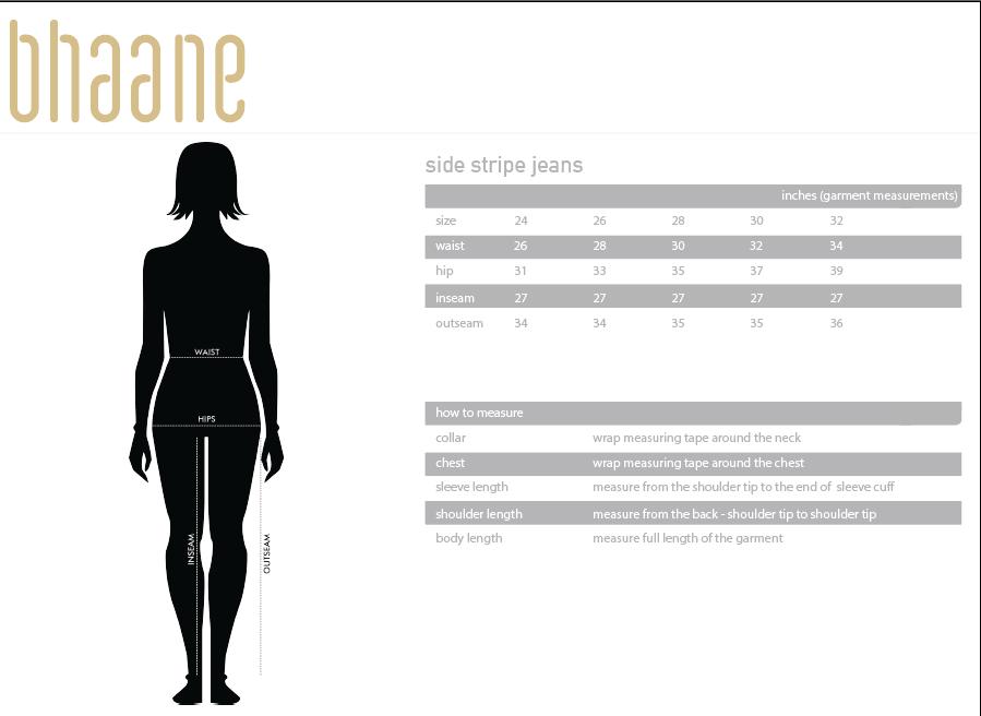 side stripe jeans's Size Chart