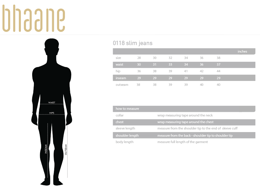 0118 slim jeans's Size Chart
