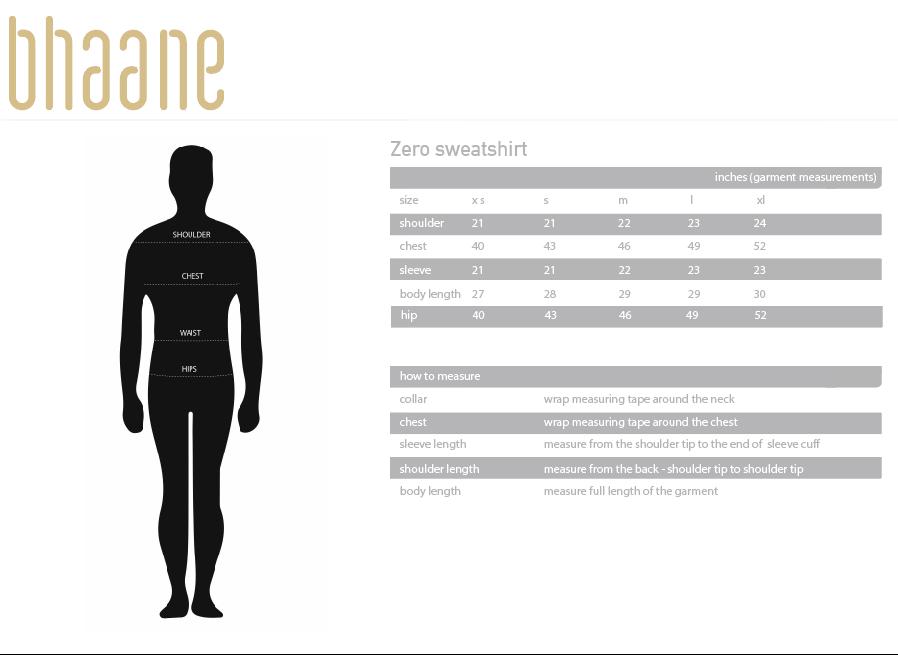 zero sweatshirt's Size Chart