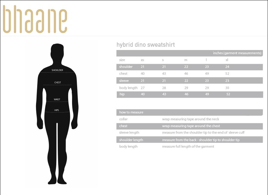 hybrid dino sweatshirt's Size Chart
