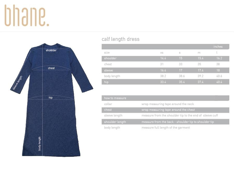 calf length dress's Size Chart
