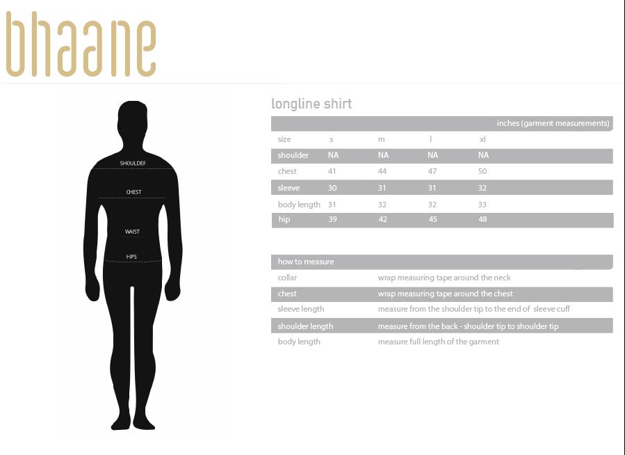 longline shirt's Size Chart