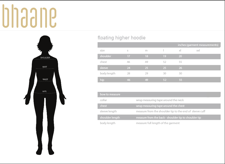 floating higher hoodie's Size Chart