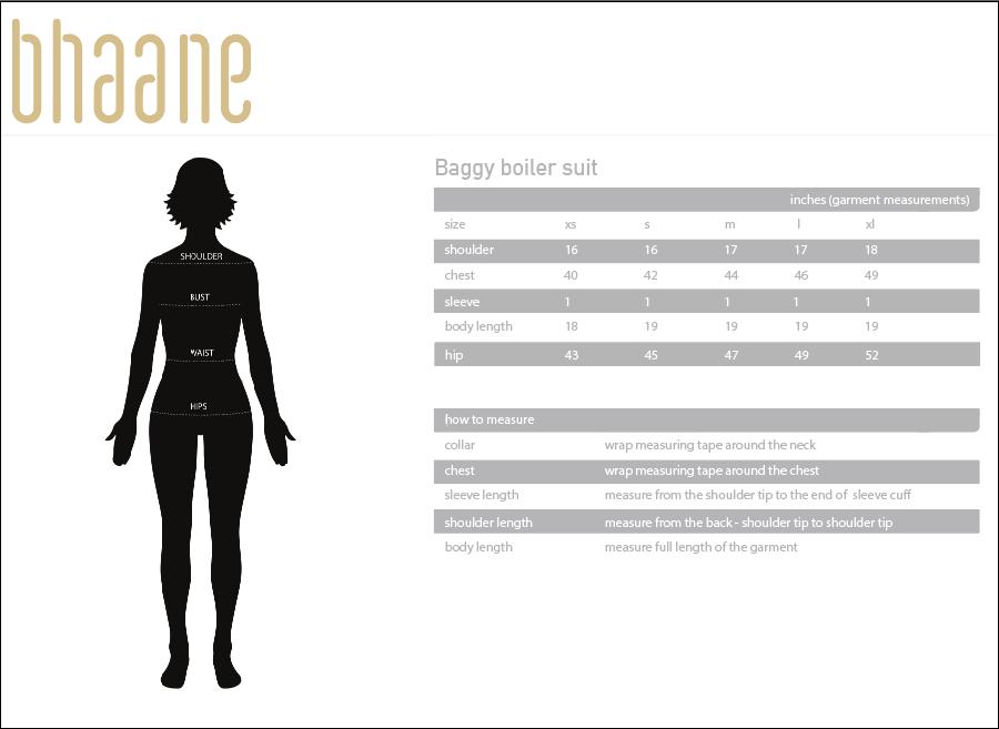 baggy boiler suit's Size Chart