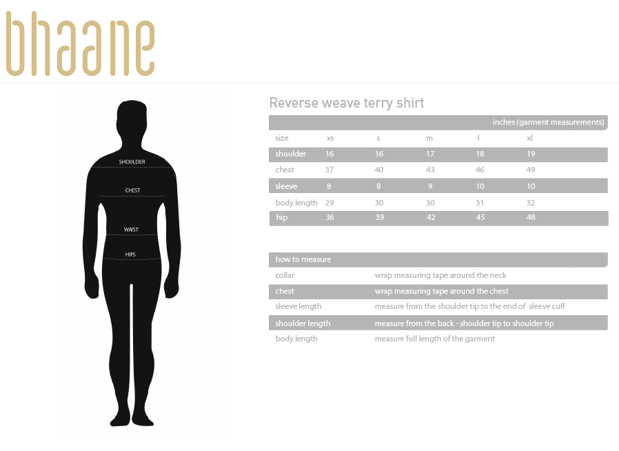 reverse weave terry tshirt's Size Chart