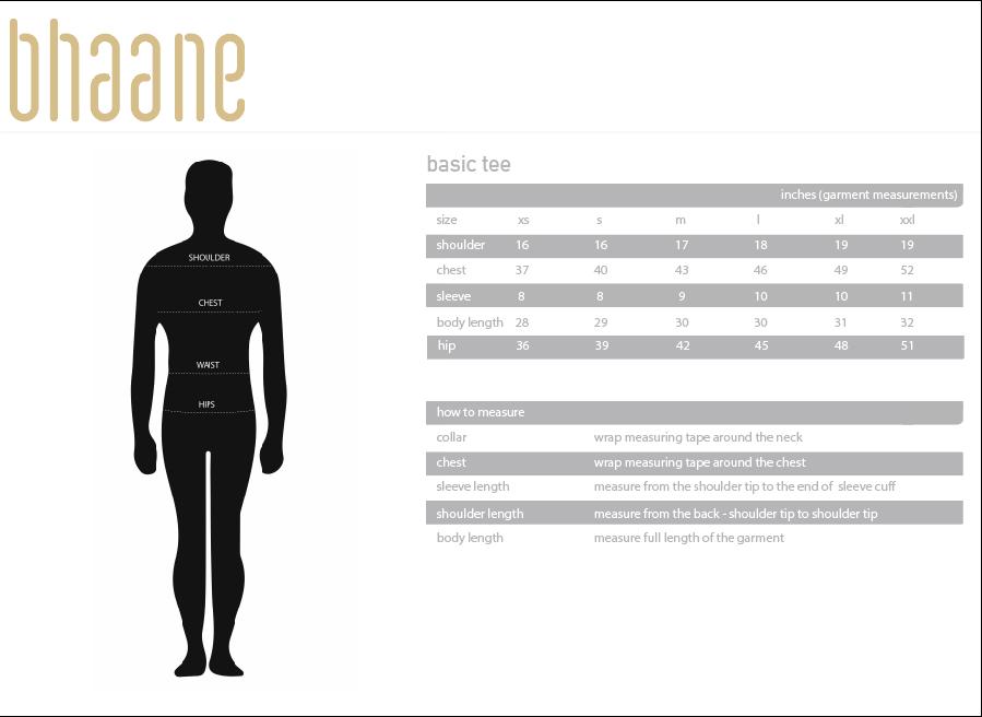 basic tee's Size Chart