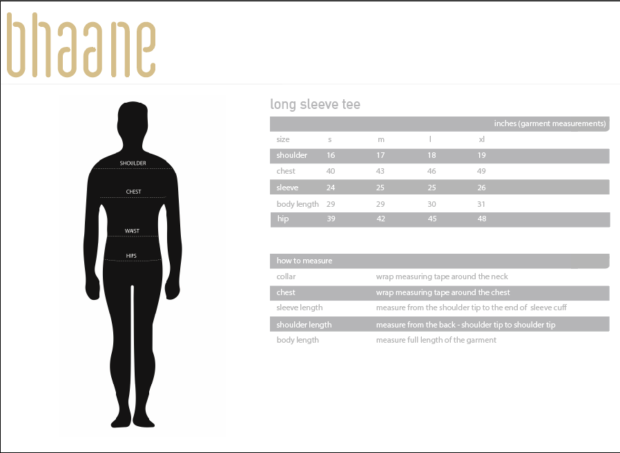 long sleeve tee's Size Chart