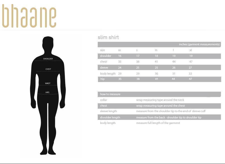 slim shirt's Size Chart