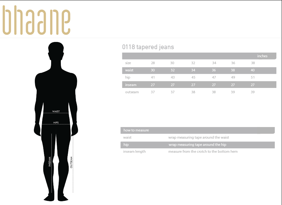 0118 tapered jeans's Size Chart