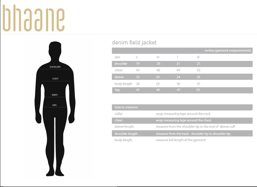denim field jacket's Size Chart
