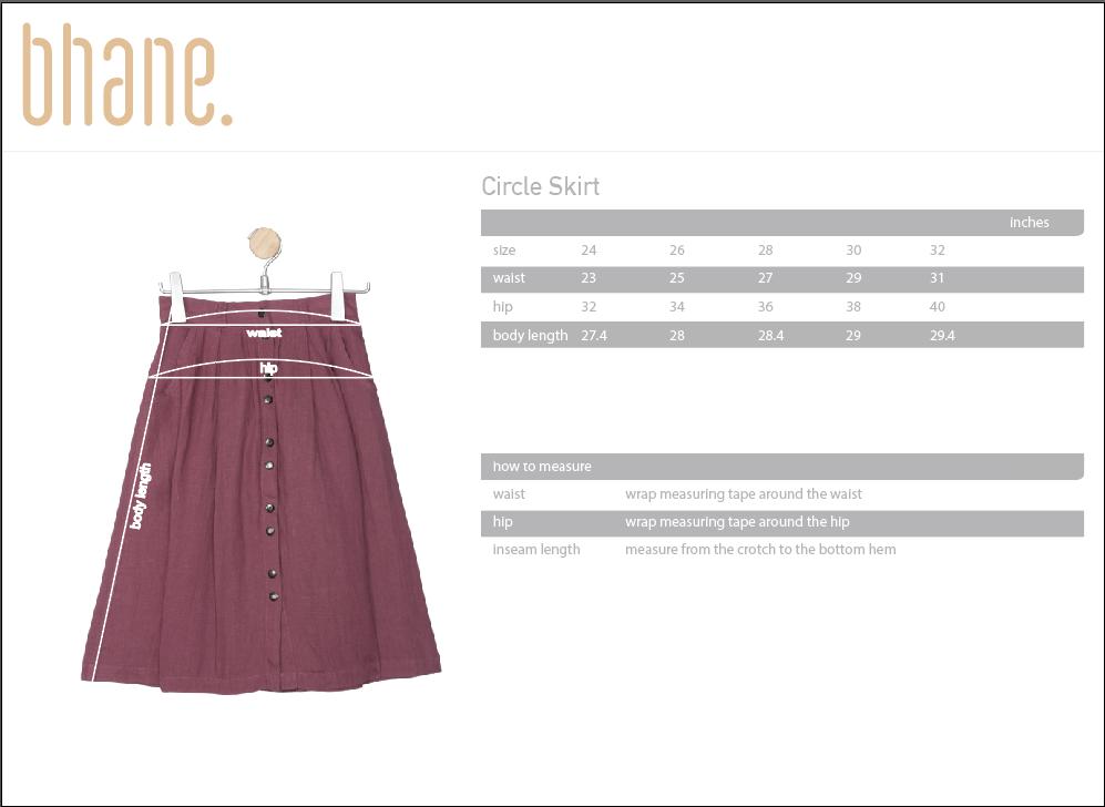 circle skirt's Size Chart