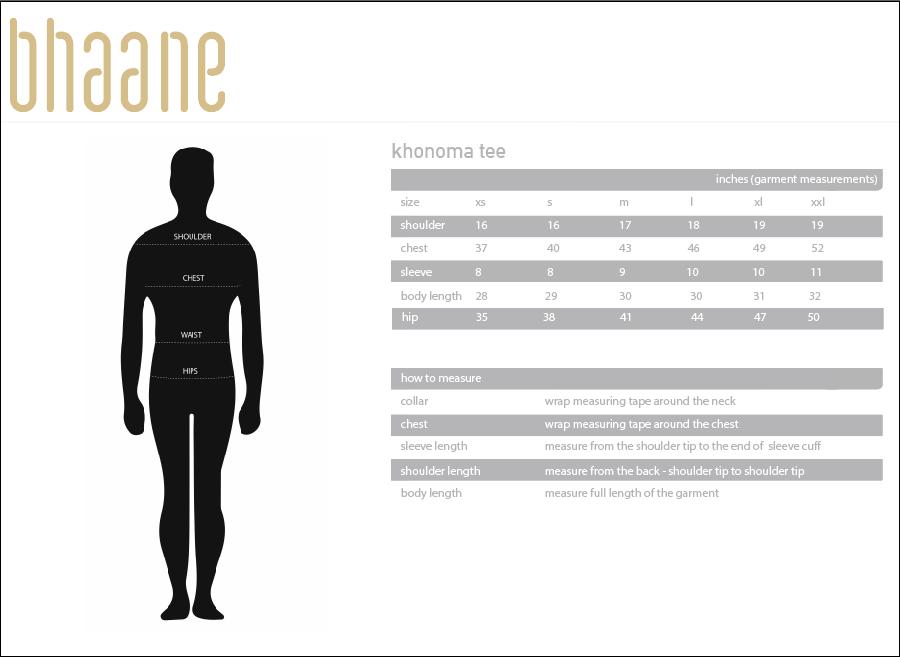 khonoma tee's Size Chart