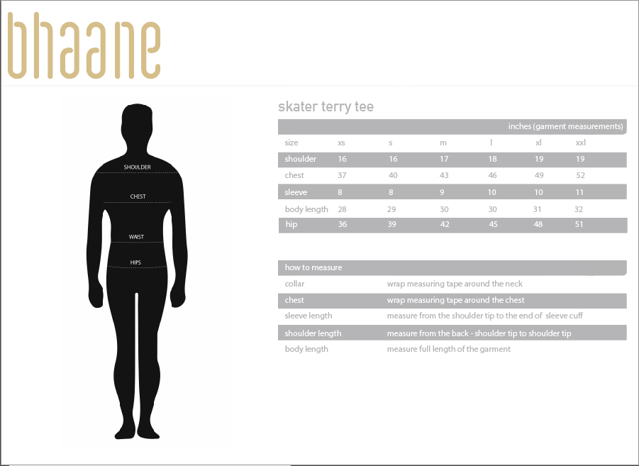 skater terry tee's Size Chart