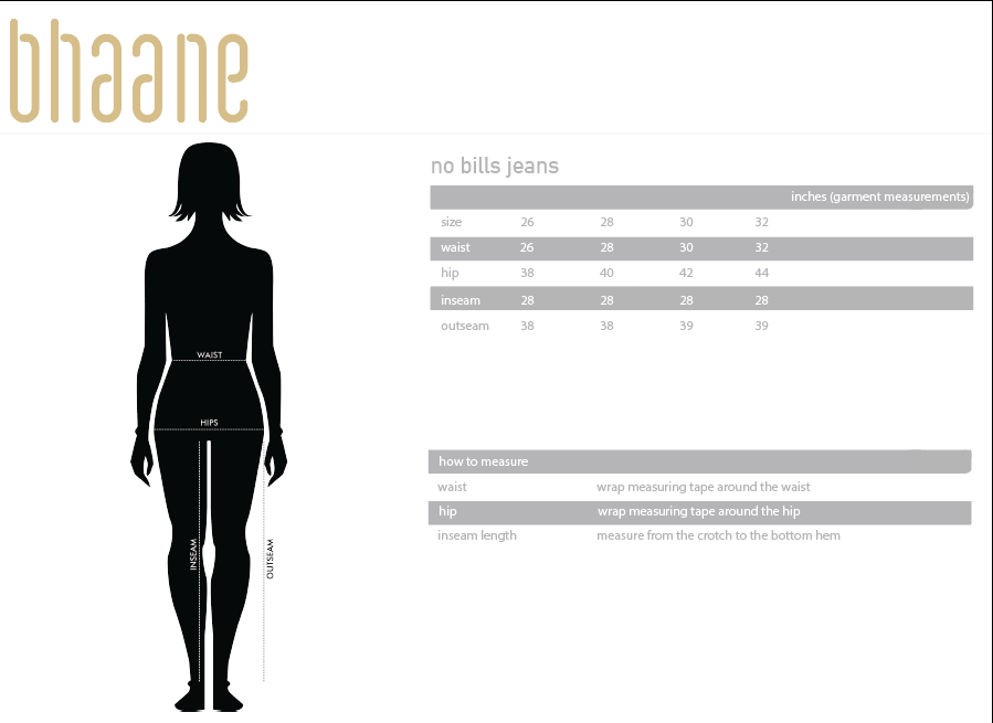 no bills jeans's Size Chart