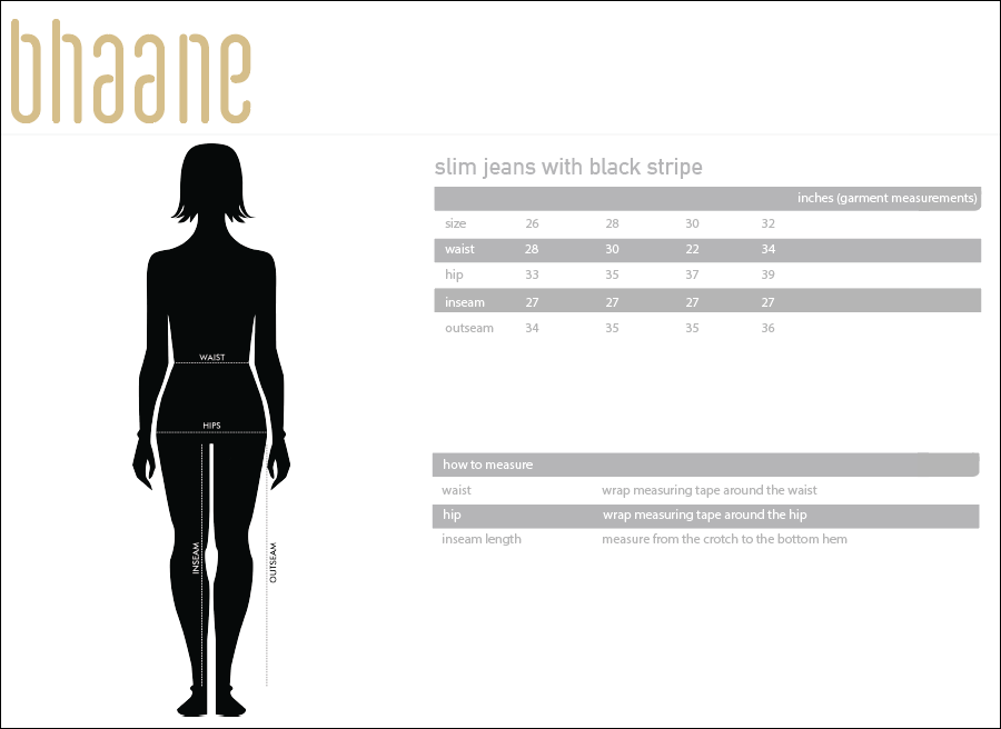 slim jeans with black stripe's Size Chart