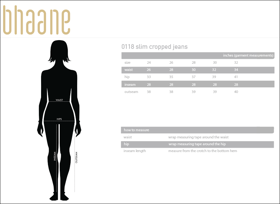 0118 slim cropped jeans's Size Chart