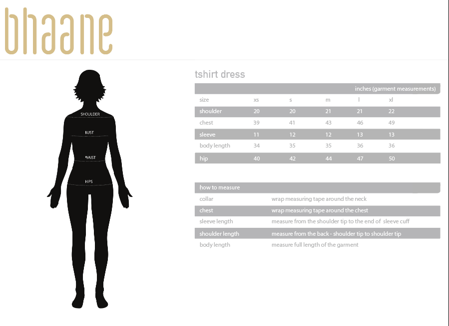 tshirt dress's Size Chart