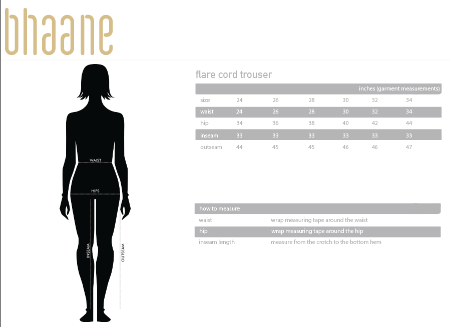 flare cord trouser's Size Chart