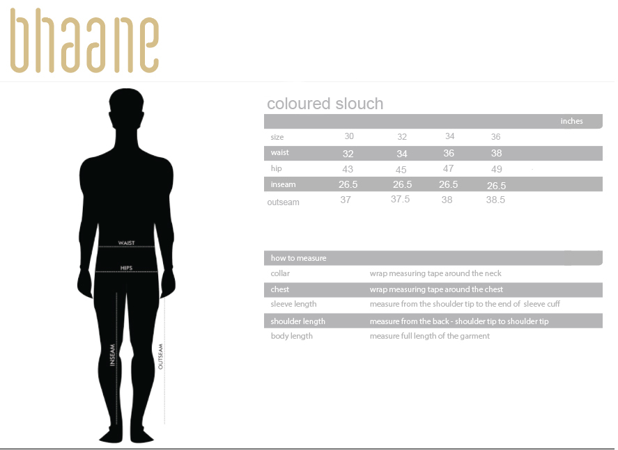 coloured slouch's Size Chart