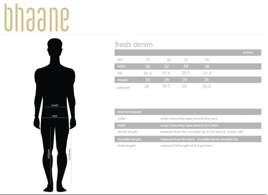 fresh denim's Size Chart