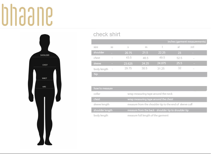 check shirt's Size Chart