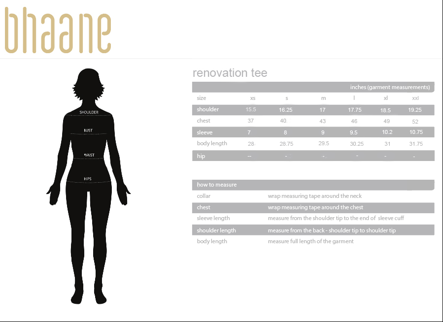 renovation tee's Size Chart
