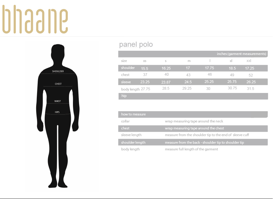 panel polo's Size Chart