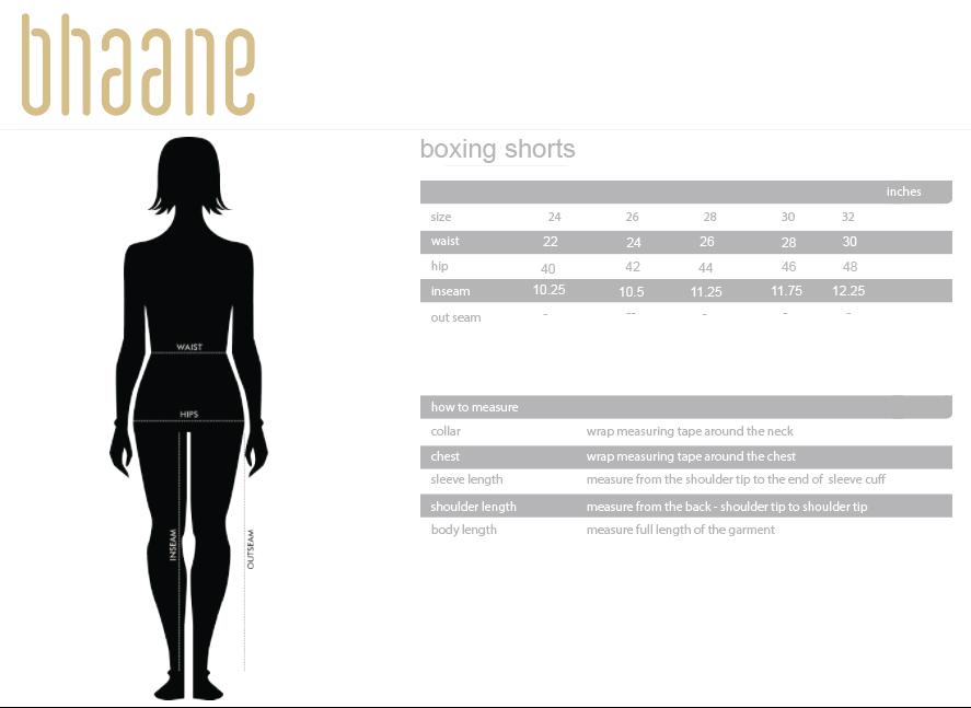 boxing shorts's Size Chart