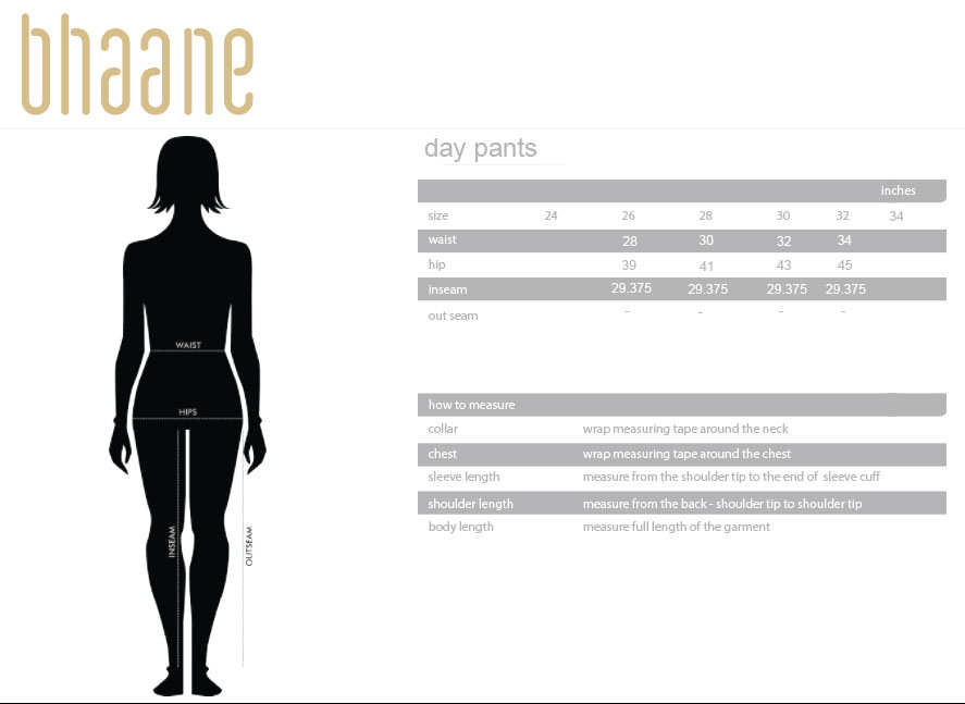 day pants's Size Chart