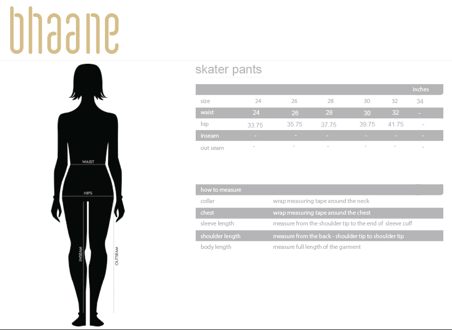 skater pants's Size Chart