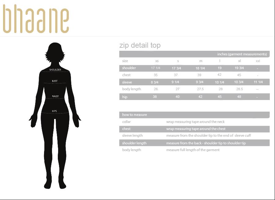 zip detail top's Size Chart