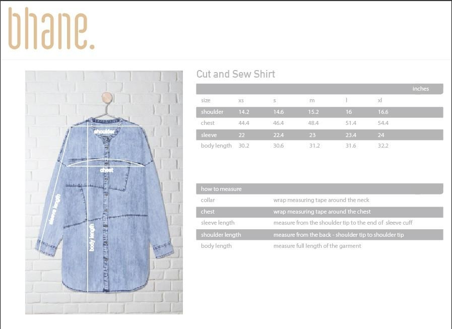 cut & sew shirt's Size Chart