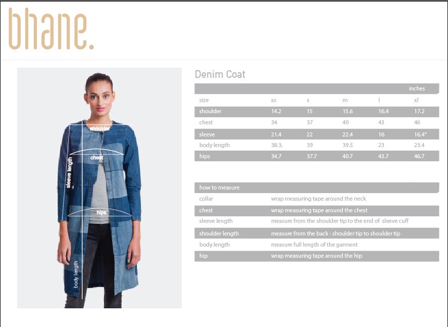 denim coat's Size Chart