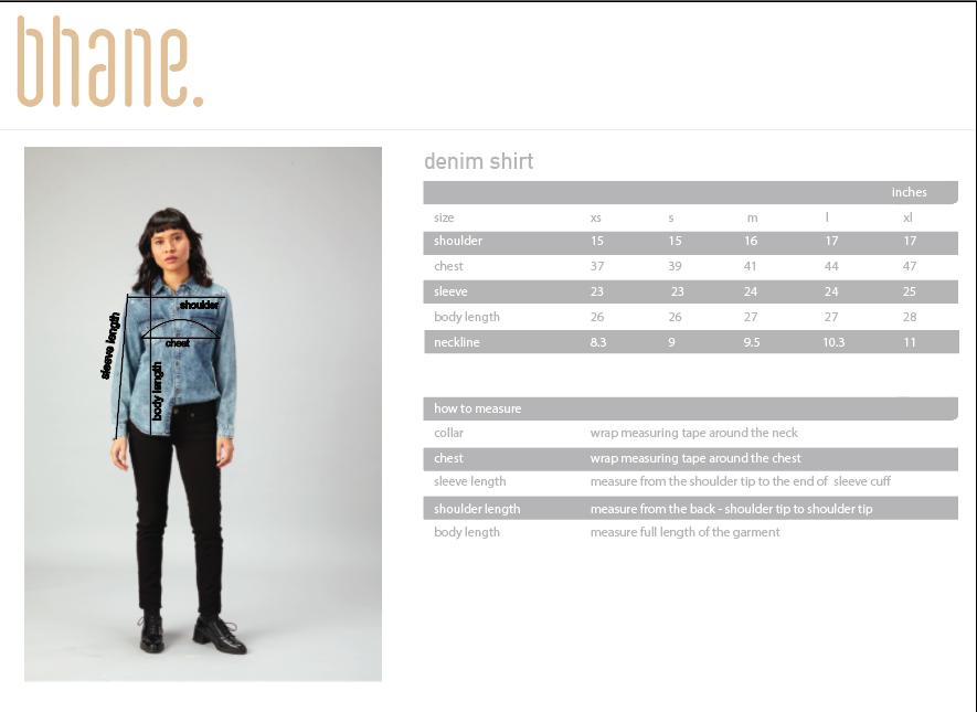 denim shirt's Size Chart
