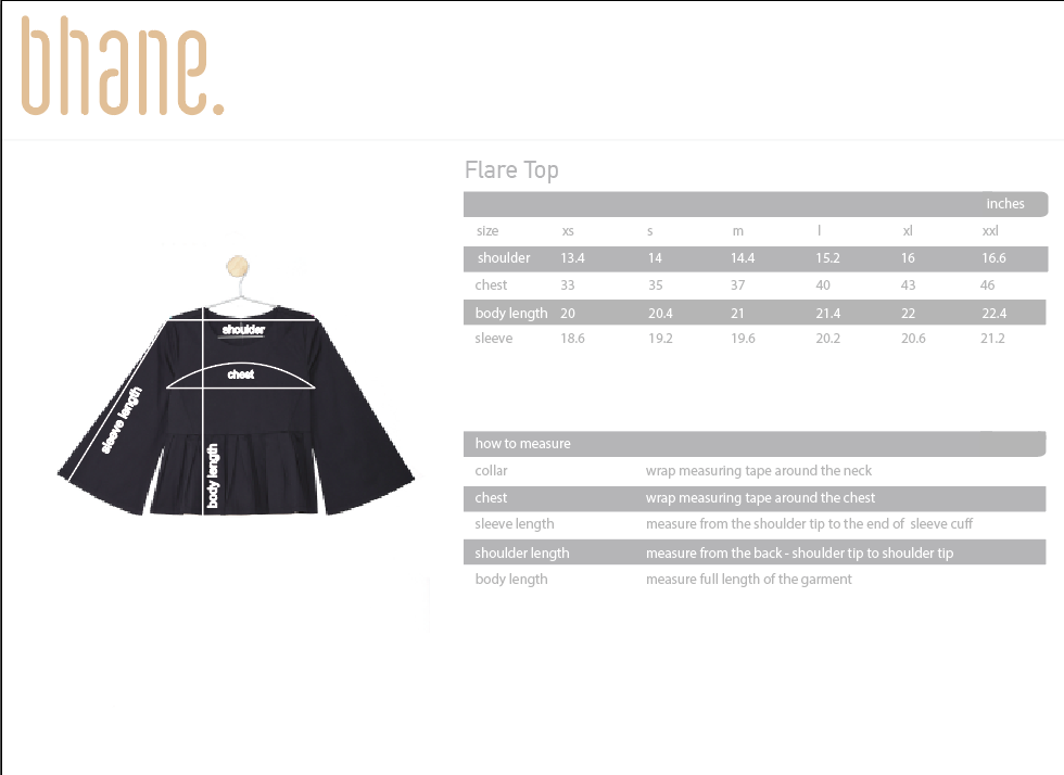 flare top's Size Chart