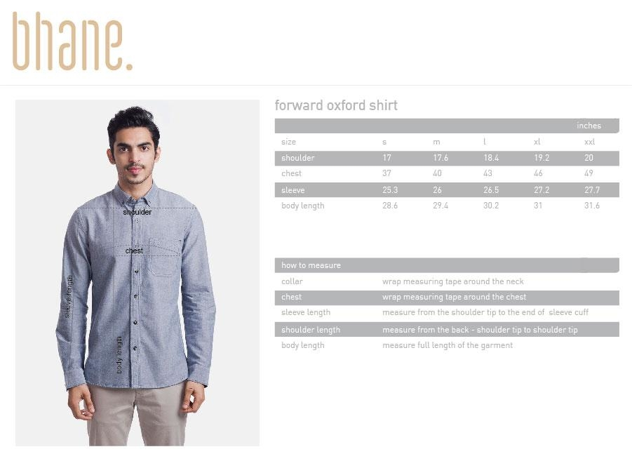 forward oxford shirt's Size Chart