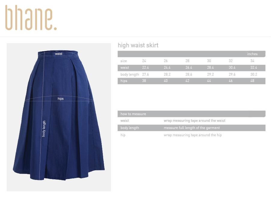 high waist skirt's Size Chart