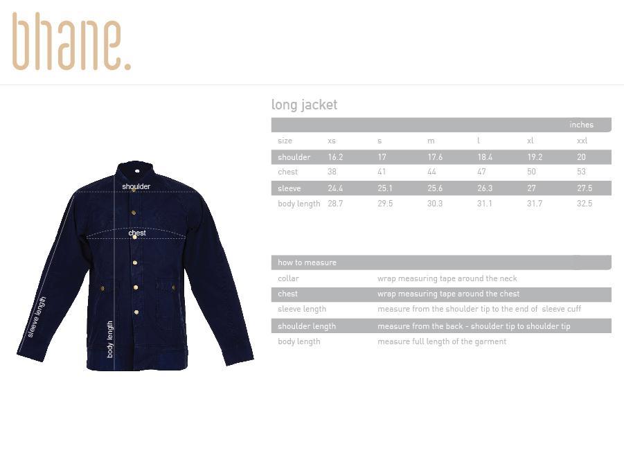 long jacket's Size Chart
