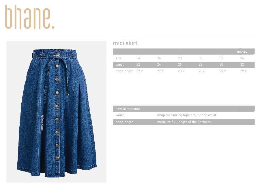 midi skirt's Size Chart