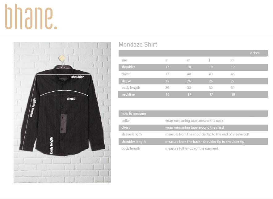 mondaze shirt's Size Chart