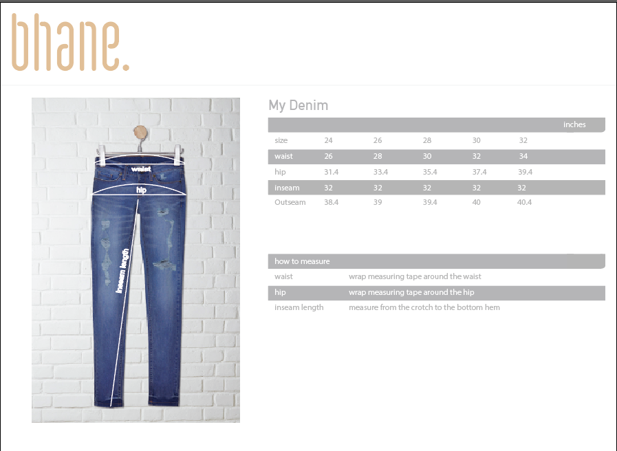 my denim's Size Chart