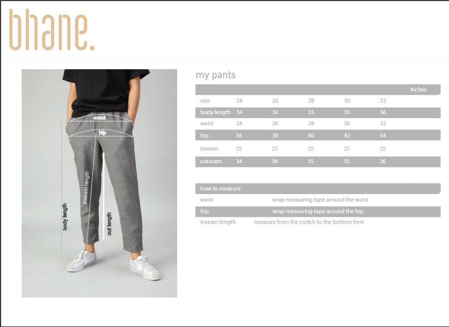 my pants's Size Chart