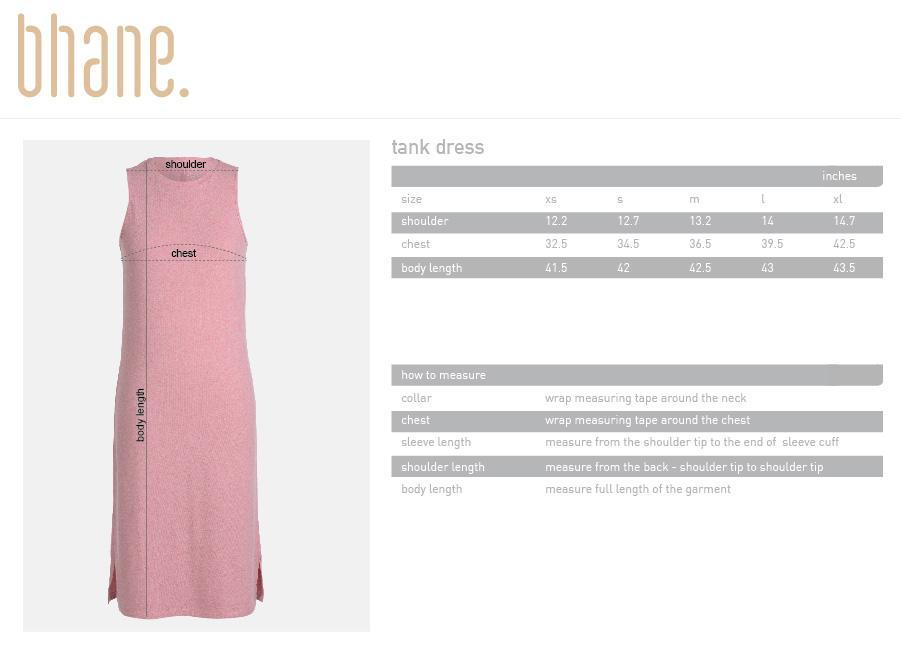 tank dress's Size Chart