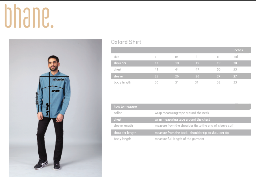 oxford shirt's Size Chart